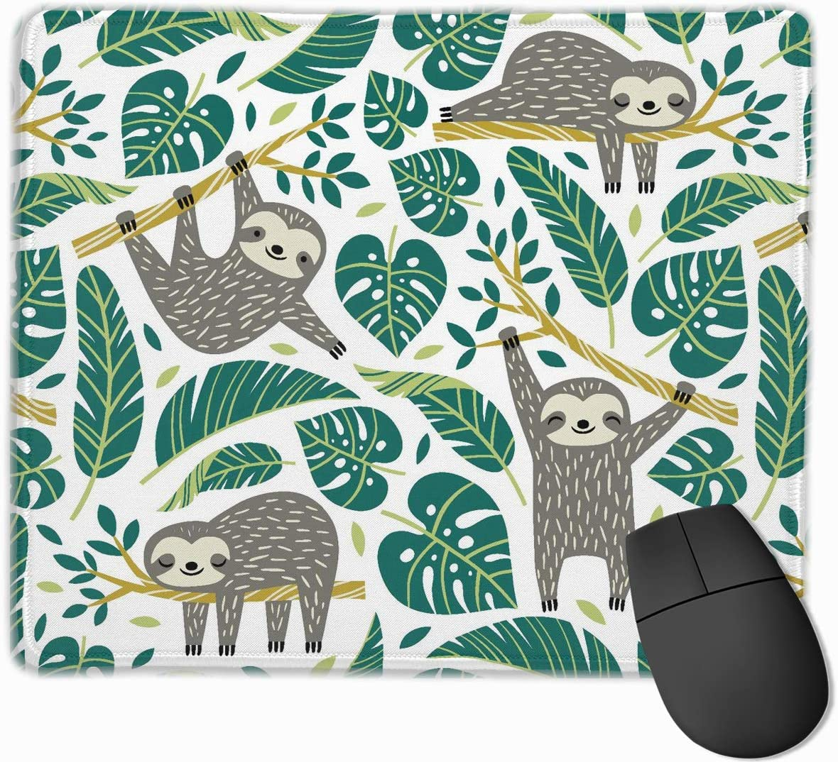 Mouse Pad with Stitched Edge, Cute Sloths and Tropical Palm Leaves Mouse Mat, Non-Slip Rubber Base Gaming Mousepad for Laptop, Computer & PC 11.8 X 9.8 Inch.