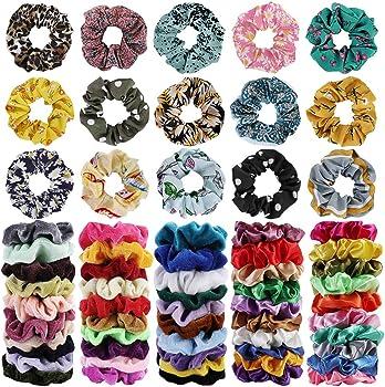 65-Pieces Cehomi Elastic Bobbles Soft Hair Scrunchies Velvet