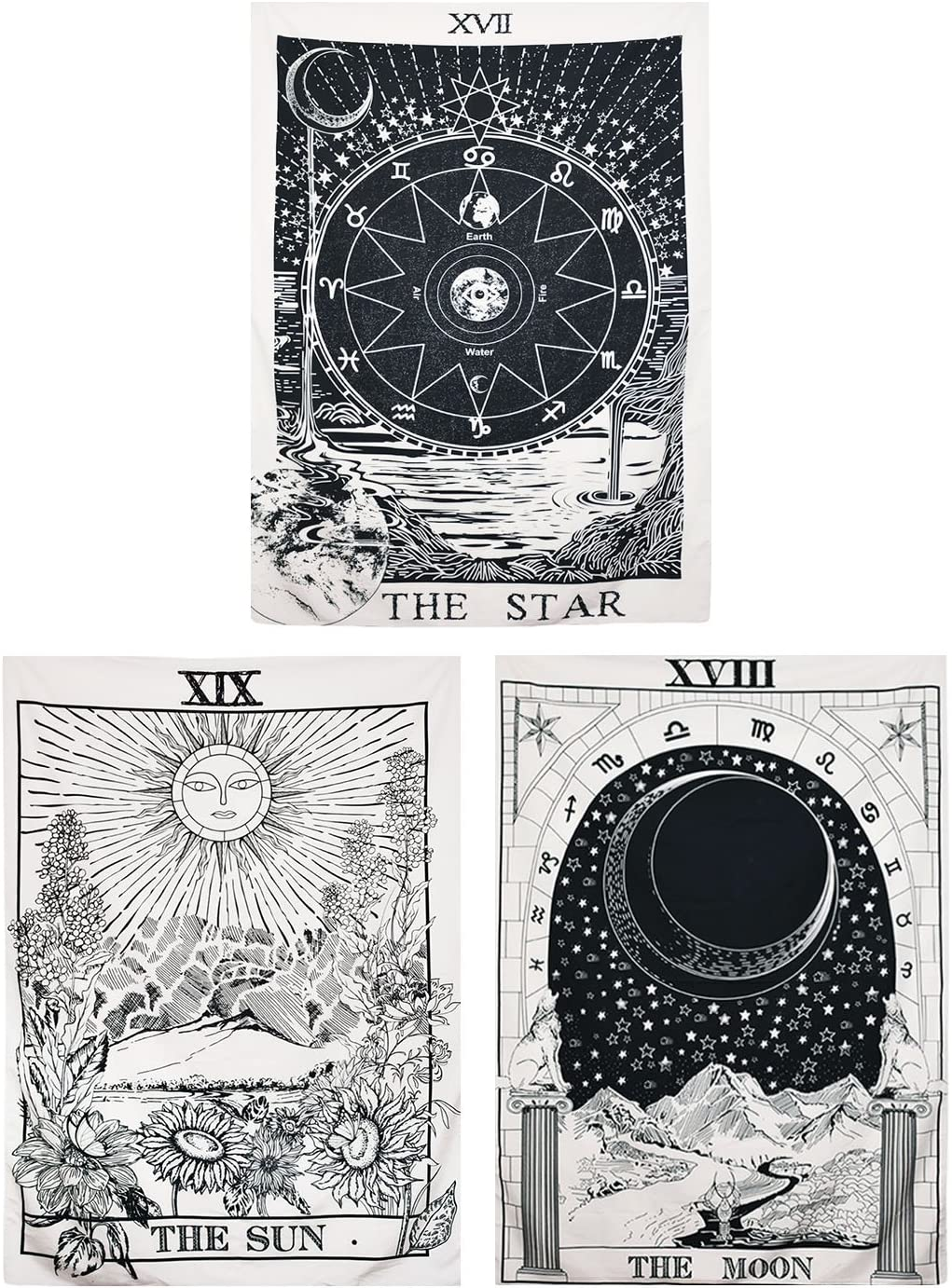 Pack of 3 Tarot Tapestry The Sun The Moon The Star Tarot Card Tapestry Medieval Europe Divination Tapestry Mysterious Wall Hanging Tapestries for Bedroom Living Room Dorm (51.2 x 59.1 inches)