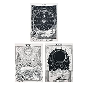 "BLEUM CADE Tarot Tapestry The Moon The Star The Sun Tapestry Medieval Europe Divination Tapestry Wall Hanging Tapestries Mysterious Wall Tapestry for Home Decor (Pack of 3, 51""×59"", Sun & Moon & Star)"