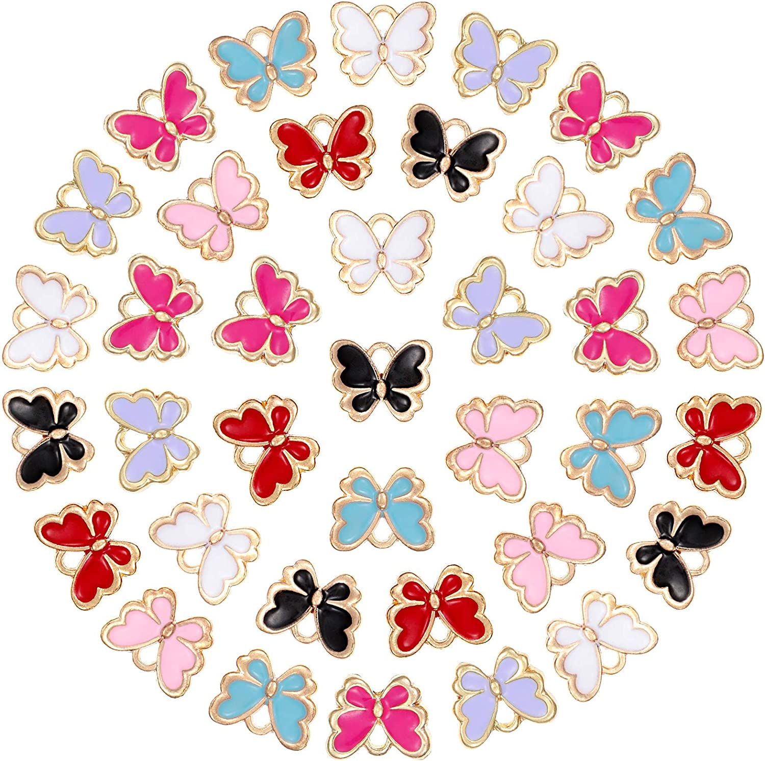 10 PACK Butterfly Pendants Charm Colorful Enamel Animal For DIY Jewelry Making