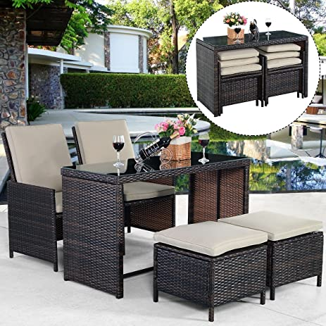 Lovely Tangkula 5PCS Brown Cushioned Ottoman Rattan Patio Set Outdoor Furniture  Garden