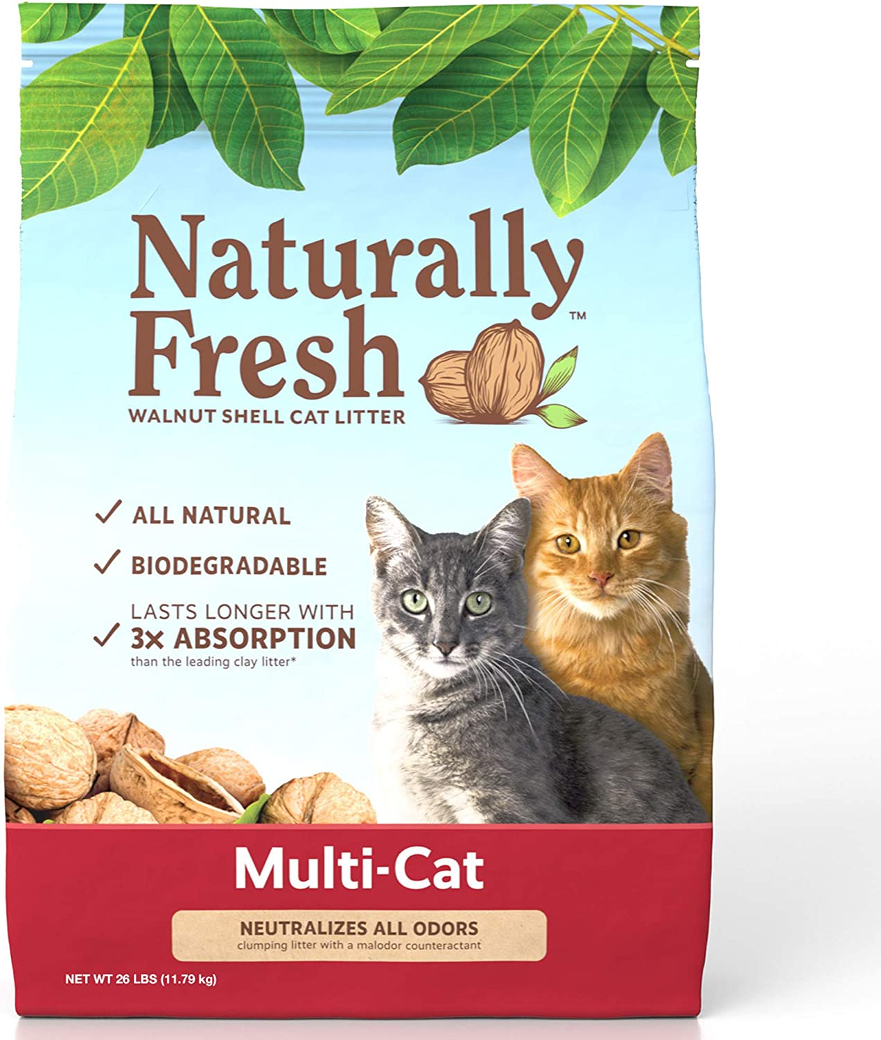 Naturally Fresh Walnut-Based Multi-Cat Quick-Clumping Cat Litter, Unscented, 26-lb bag
