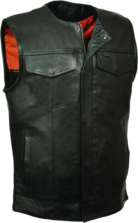 Black, 4X-Large Milwaukee Mens Collarless Snap//Zip Front Club Vest