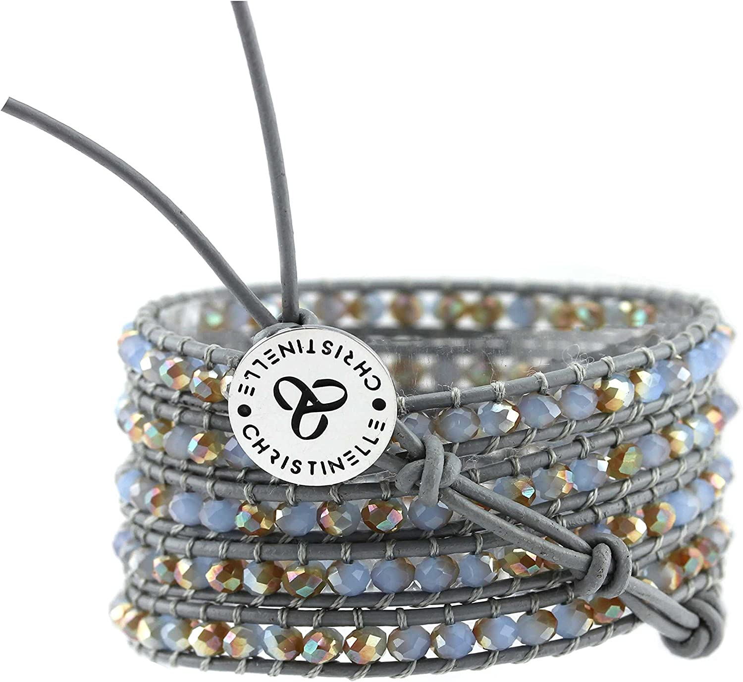 """CHRISTINELLE Leather Wrap Bracelet, Beaded Bracelets for Women, Colored Crystal Beads, 36"""""""