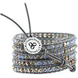 CHRISTINELLE Leather Wrap Bracelet, Beaded Bracelets for Women, Colored Crystal Beads, 36""
