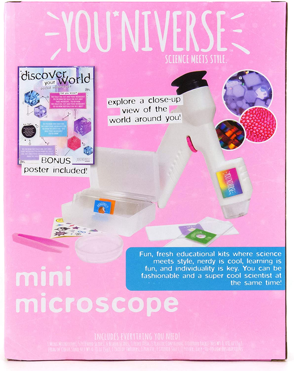 Includes 1 Microscope YouNiverse Mini Microscope by Horizon Group Usa 6 Blank Slides /& More Stem Science Kit 5 Prepared Slides