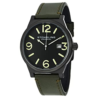 Image Unavailable. Image not available for. Color  Stuhrling Original Men s  454.3355D1 Leisure Eagle Osprey Swiss Quartz Date Green Leather Strap Watch 55eb185b0ab