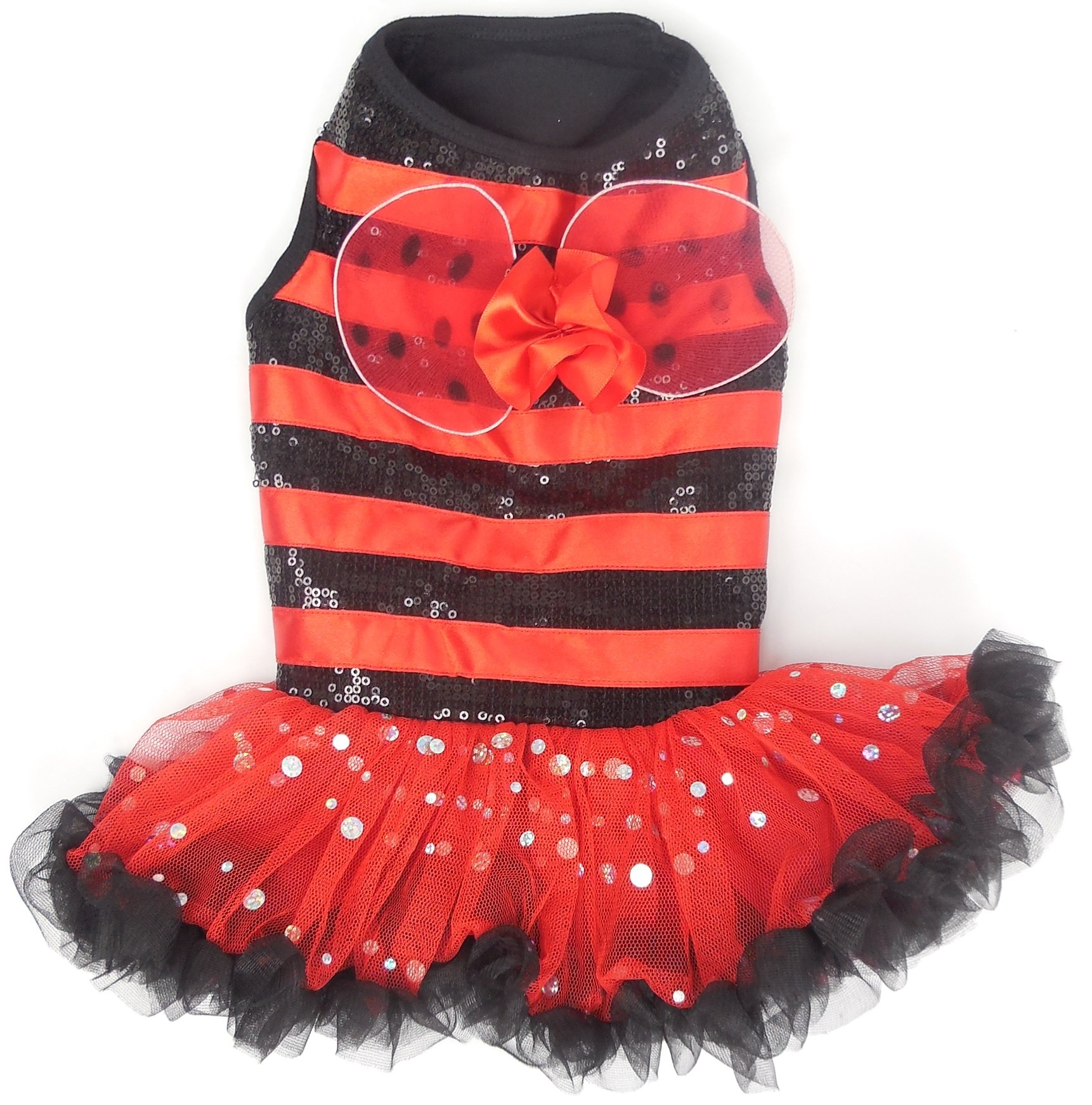 PAWPATU Ladybug Costume for Dogs, Small, Red/Black