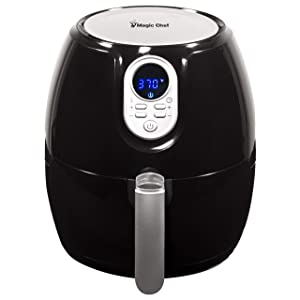 Magic Chef Airfryer 2.6 Quart Compact Snack Sized Oilless Fryer, Digital Control, Dishwasher Safe Basket with Recipe Book Included, MCAF26DB, Black
