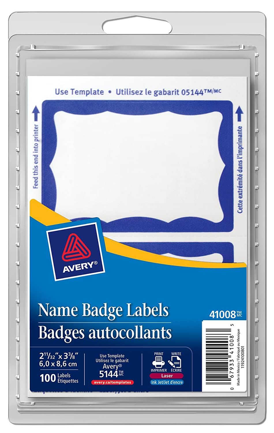 Avery Name Badge Labels for Laser and Inkjet Printers, 2-11/12 x 3-3/8, Blue Border, Rectangle, 100 Pack (41008) 2-11/12 x 3-3/8