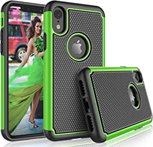 """Tekcoo for iPhone XR Case / (6.1"""") iPhone XR Cute Case, [Tmajor] Shock Absorbing [Green] Rubber Silicone & Plastic Scratch Resistant Bumper Grip Rugged Sturdy Hard Cases Cover"""