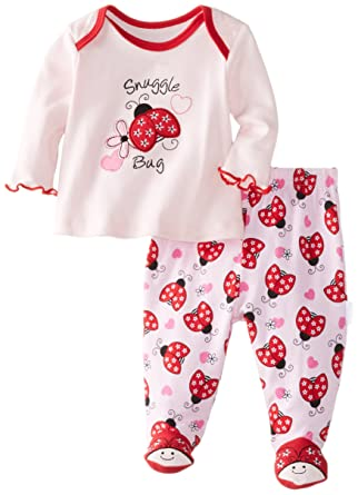 Vitamins Baby Baby-Girls Newborn Snuggle Bug 2 Pack Pajama Set, Pink, 6
