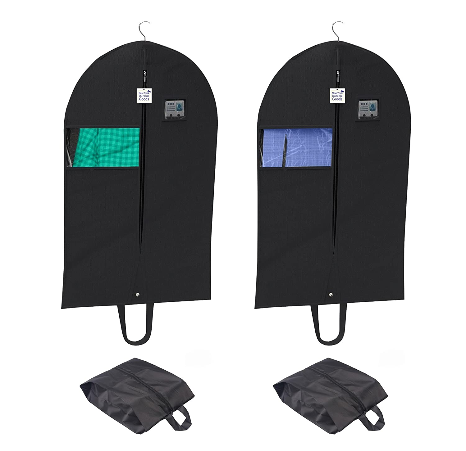 Dresses Set of Two Suitcase Covers 42 Inch with Set of Two Shoe Bags Set of 4 Window Viewing Breathable Garment Set Easy Carrying Shoulder Straps,PVC Card Holder New York Durable Goods Linens Suit Carriers