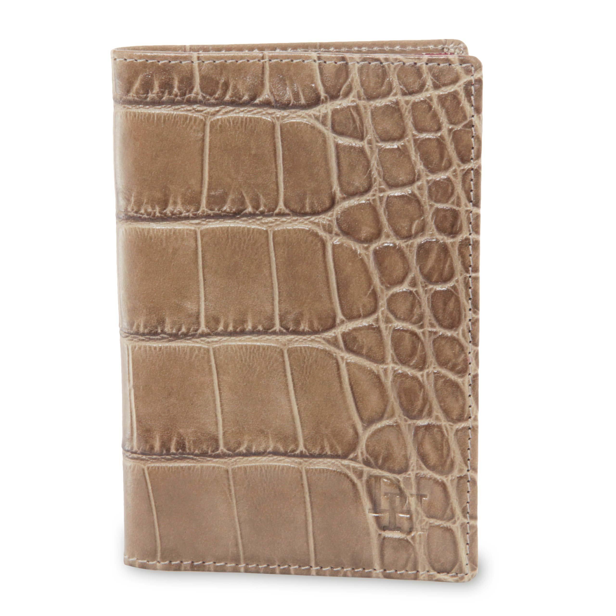 David Hampton Serengeti Crocodile Print Leather Passport Holder