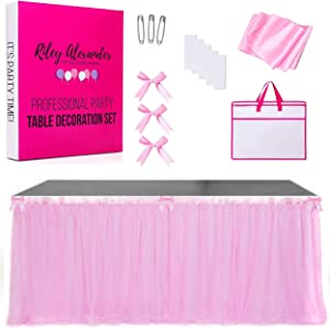 Riley Alexander Table Skirt Bundle Includes 6ft Pink Tulle Table Skirt, 9ft Pink Satin Table Runner & 3 Pink Bows, Tutu Table Skirt for Rectangle and Round Tables, Ideal For Party Decoration (5Pack)