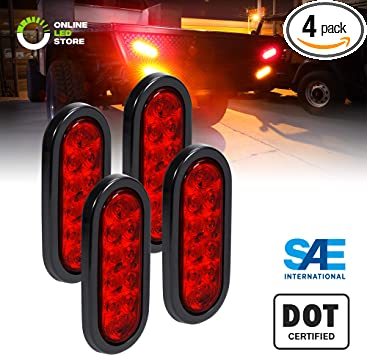2 Red Stop Turn Tail Park IP67 Waterproof DOT FMVSS 108 2 Amber 4 Round LED Trailer Tail Light Kit Grommets /& Plugs Included Marine Trailer Brake Lights for Boat Trailer RV Truck
