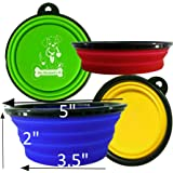 Mr. Peanut's Collapsible Dog Bowls - Dishwasher Safe BPA FREE Food Grade Silicone Portable Pet Bowls - Perfect Foldable Travel Bowls for Journeys, Hiking, Kennels & Camping