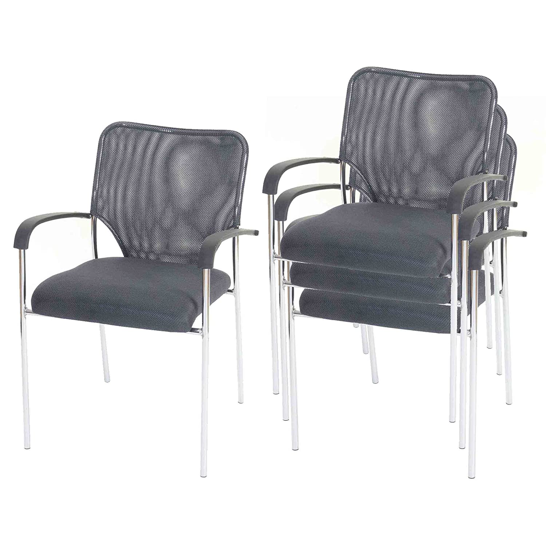Mendler 4X Besucherstuhl Tulsa, Konferenzstuhl stapelbar, stapelbar, stapelbar, Stoff Textil  Sitz grau, Rückenfläche grau d7defb