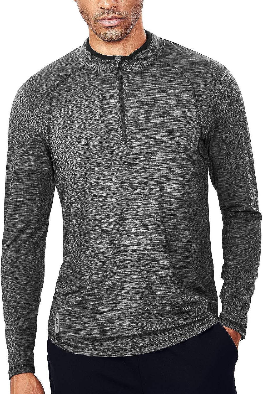 Men/'s Outdoor Sport Top T-shirt Quick-dry Long Sleeve Casual Zipper Shirt Tee