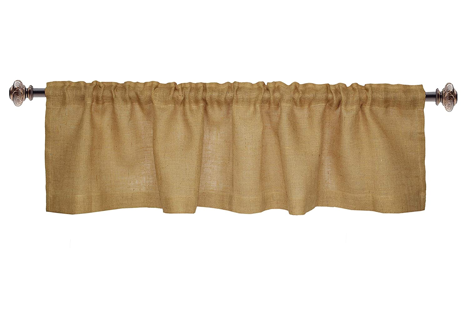 COTTON CRAFT -2 Piece 100% Jute Burlap Window Valance Set in Color Natural - Size 72 Inch by 16 Inch - Made from 100% Natural Jute