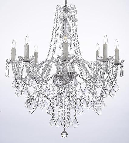 Crystal Chandelier Lighting 33ht X 28wd 8 Lights Fixture Pendant ...