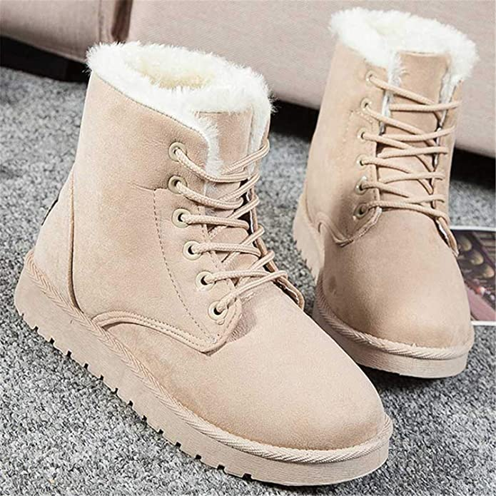 Amazon.com | Ankle Boots for Women Female Fur Lace Up Fenty Platform Snow Boots Suede Plush Sewing Botas Black 4 | Boots