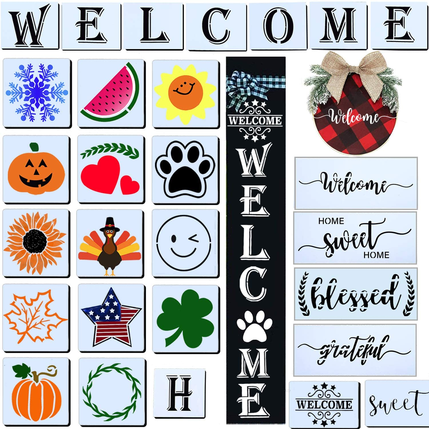 28 PCS Welcome Stencil for Painting on Wood,Home Sign Stencils Reusable Porch Sign and Front Door Vertical Welcome Comes with Stencil-Sunflower,Dog Paw Stencil and orther Pattern (Style 3)