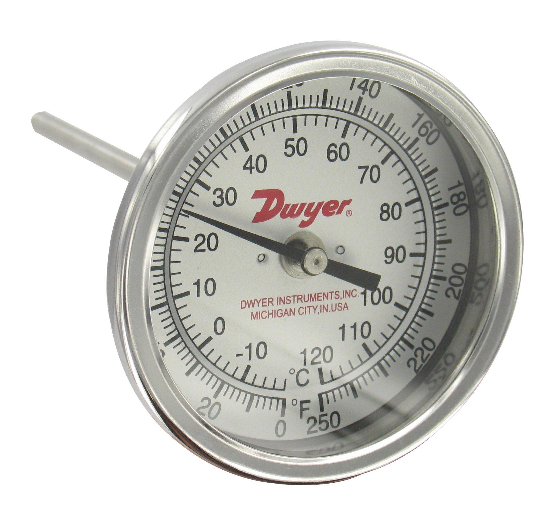 Dwyer Bimetal Thermometer, BTB2405D, 0-250°F (-20-120°C), 2'' Dial, 4'' Stem, Back Connection
