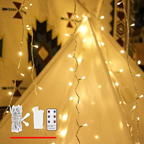 LOUIS CHOICE LED String Lights with Remote, 49ft 100 Warm White Light, Decorative Lights for Indoor and Outdoor, Dimmable, Linkable Plug in String Lights with Timer