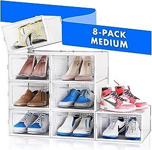 NEATLY Shoe Organizer Shoe Storage - Shoe Boxes Clear Plastic Stackable, Plastic Shoe Box. Sneaker Shoe Containers, Shoes Organizer for Closet Organizers and Storage Bins, Organizador De Zapatos