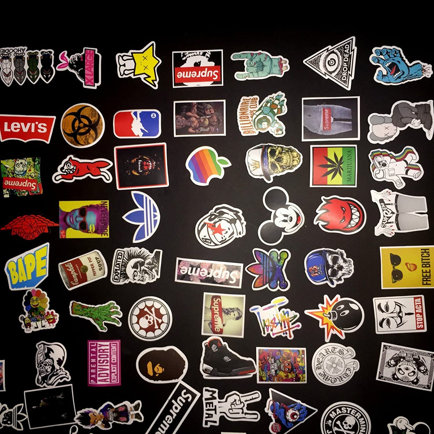 Amazon com not random100 piece skateboard stickers vintage vinyl laptop luggage decals dope sticker mix lot home kitchen