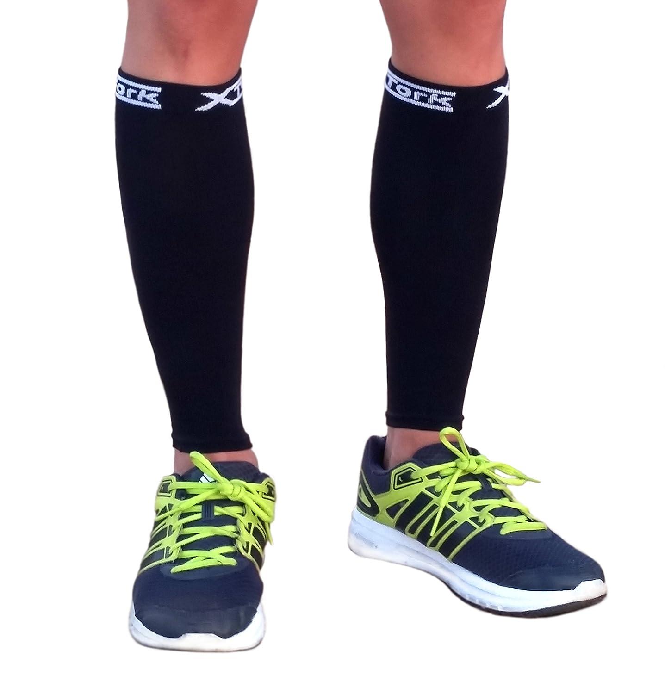 Medias de compresion unisex negro, alivio de dolores, recuperación más rápida, evita la fatiga. Calcetines para Running, Cycling, Triathlon (L/XL): ...