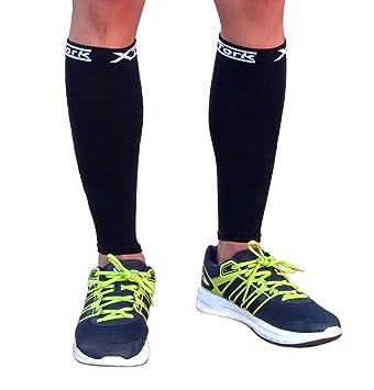 Medias de compresion unisex negro, alivio de dolores, recuperación más rápida, evita la fatiga. Calcetines pantorrilla para Running, Cycling, ...