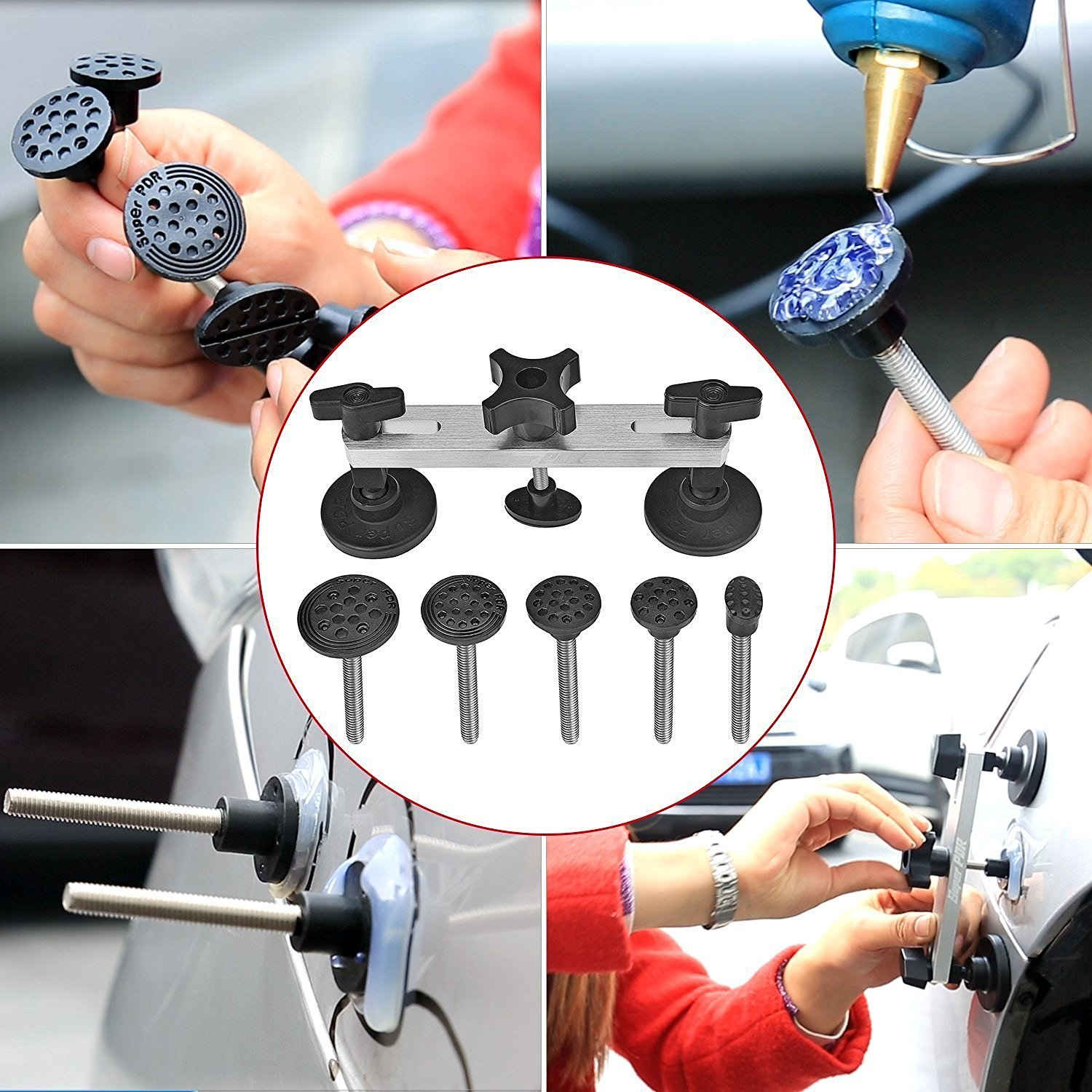 Super PDR 91Pcs PDR Rod Tools Kit Professional Hail Damage Door Ding Repair Kit Car Auto Body Paintless Dent Repair Removal Tool Set PDR Dent Puller kit Slide Hammer Push Rods by Super PDR (Image #7)