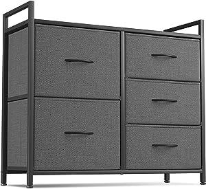 Cubiker Dresser Storage Organizer, 5 Drawer Dresser Tower Unit for Bedroom Hallway Entryway Closets, Small Dresser Clothes Storage with Sturdy Steel Frame Wood Top, Dark Grey
