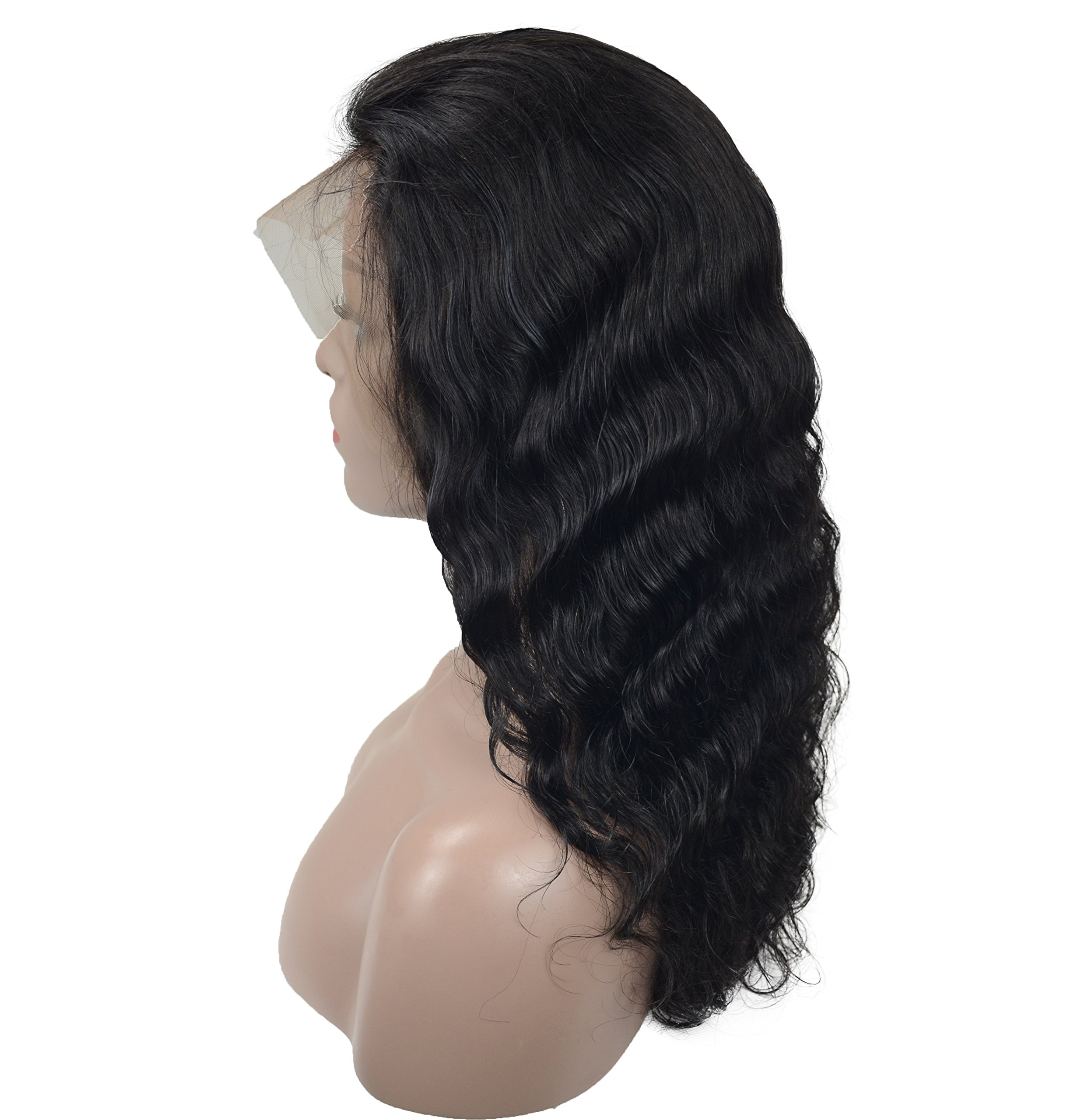 Human Hair Lace Front Wigs For Women, Veer Long Body Wave Glueless Brazilian Virgin 130% Density Natural Hairline With Baby Hair 20inch Natural Black(#1b)