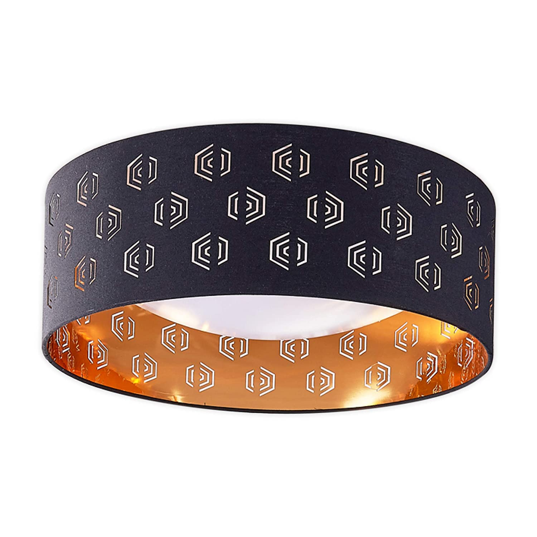 Lampenwelt LED Deckenlampe 'Marsel' (Modern) in Schwarz aus Textil u.a. für Wohnzimmer & Esszimmer (1 flammig, A+, inkl. Leuchtmittel) | Deckenleuchte, Lampe, Wohnzimmerlampe