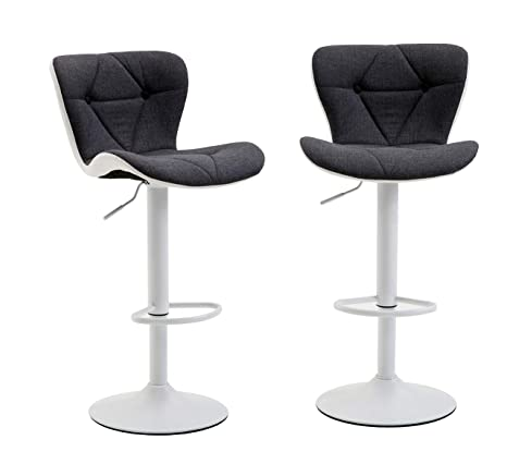 Awesome Ultimate Modern Square Fabric Leather Swivel Adjustable Barstools Counter Height Swivel Bar Stools Chair Set Of 2 Gray White Uwap Interior Chair Design Uwaporg