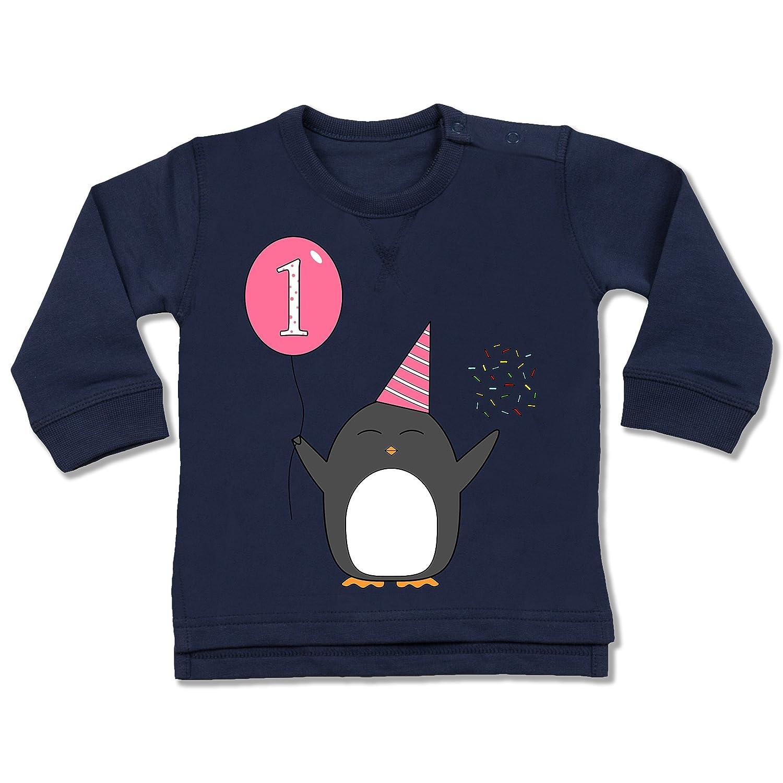 ShirtYouWant Geburtstag Geschenk für Babys - 1.Geburtstag - Baby - Rosa - Pinguin - Ballon - Konfetti - - Baby Jungen Mädchen Sweatshirt Pullover Shirtracer BZ31