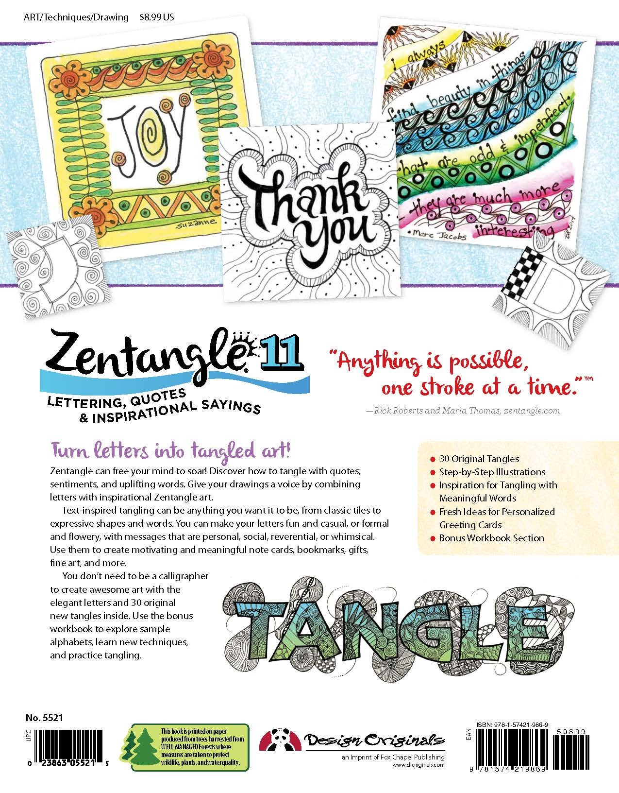 Zentangle 11, Workbook Edition: Lettering, Quotes & Inspirational Sayings:  Suzanne McNeill: 9781574219869: Amazon.com: Books