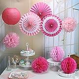 RiscaWin Set for Decoration Paper Fan,Tissue Paper Pom Poms ,Paper Lanterns,Honeycomb Balls (Set of 9) Pink