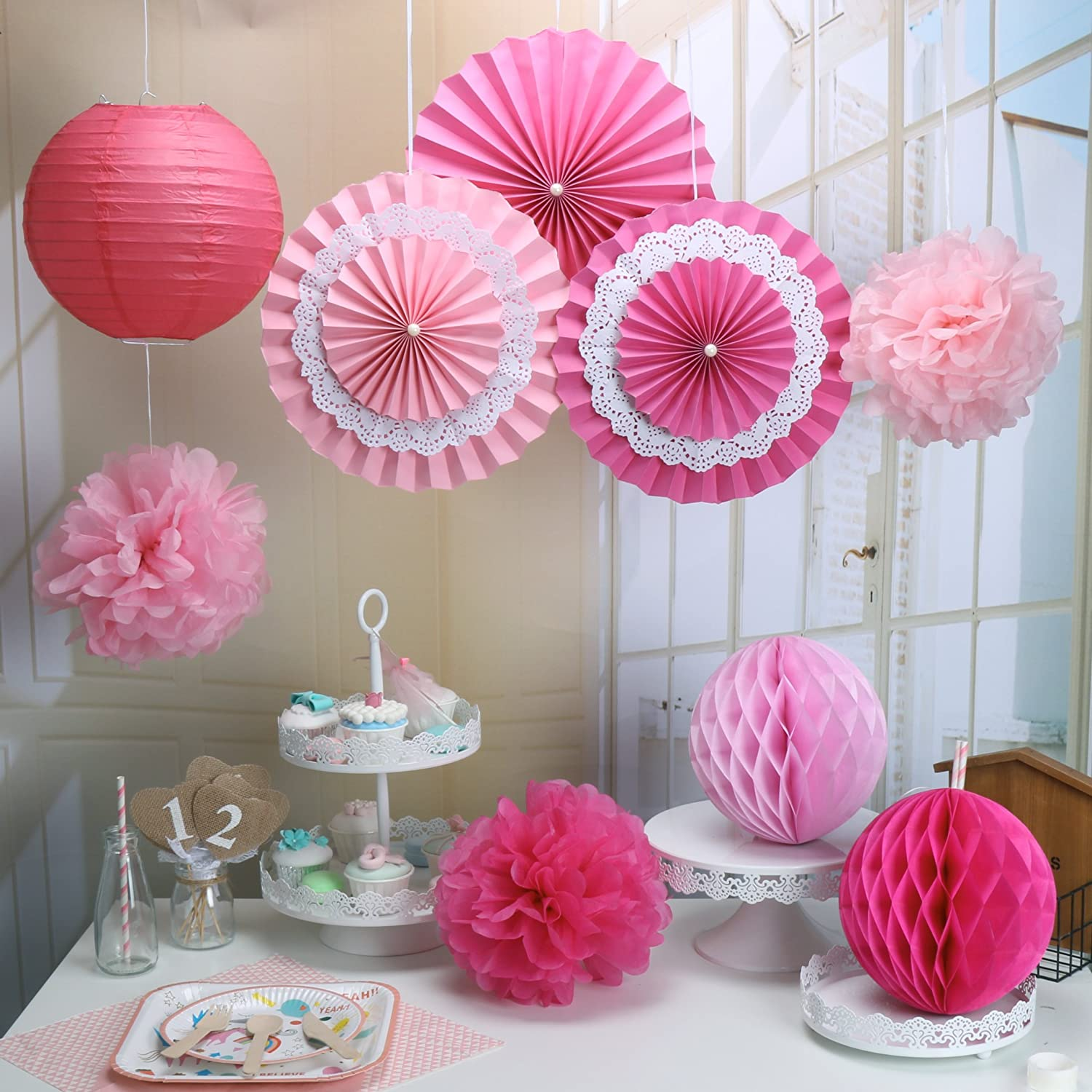 Amazon.com: RiscaWin Set for Decoration Paper Fan,Tissue Paper Pom ...