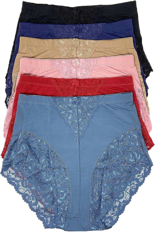 1960s – 1970s Lingerie & Nightgowns 6 Pack Plus Size Light Control Full Cover Lace Underwear Women Briefs Panties $27.99 AT vintagedancer.com