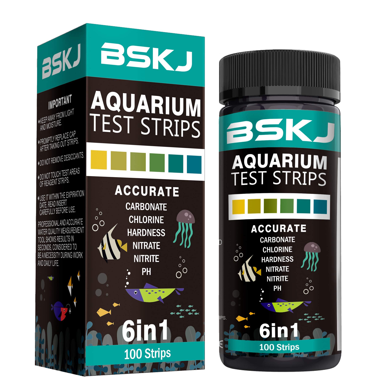 BSKJ 6 in 1 Aquarium Water Test Strips Saltwater Freshwater Fish Pond Test Kit Multielement Testing of Water