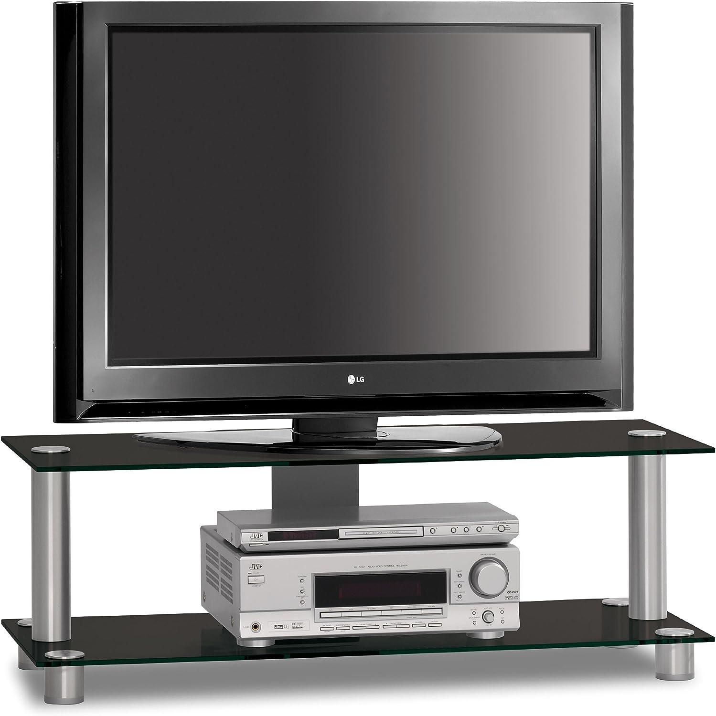 Just-Rack TV 1052 - Mueble universal para televisores de pantalla plana y reproductores de música (aluminio y cristal), color negro: Amazon.es: Electrónica