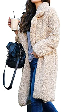 ea660449baf Angashion Women s Fuzzy Fleece Lapel Open Front Long Cardigan Coat Faux Fur  Warm Winter Outwear Jackets