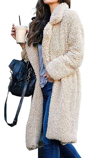 4746b1b70ad Angashion Women's Fuzzy Fleece Lapel Open Front Long Cardigan Coat Faux Fur  Warm Winter Outwear Jackets with Pockets