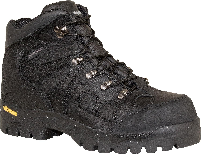 RefrigiWear Men's EnduraMax Warm Insulated Waterproof Black Leather Work Boots