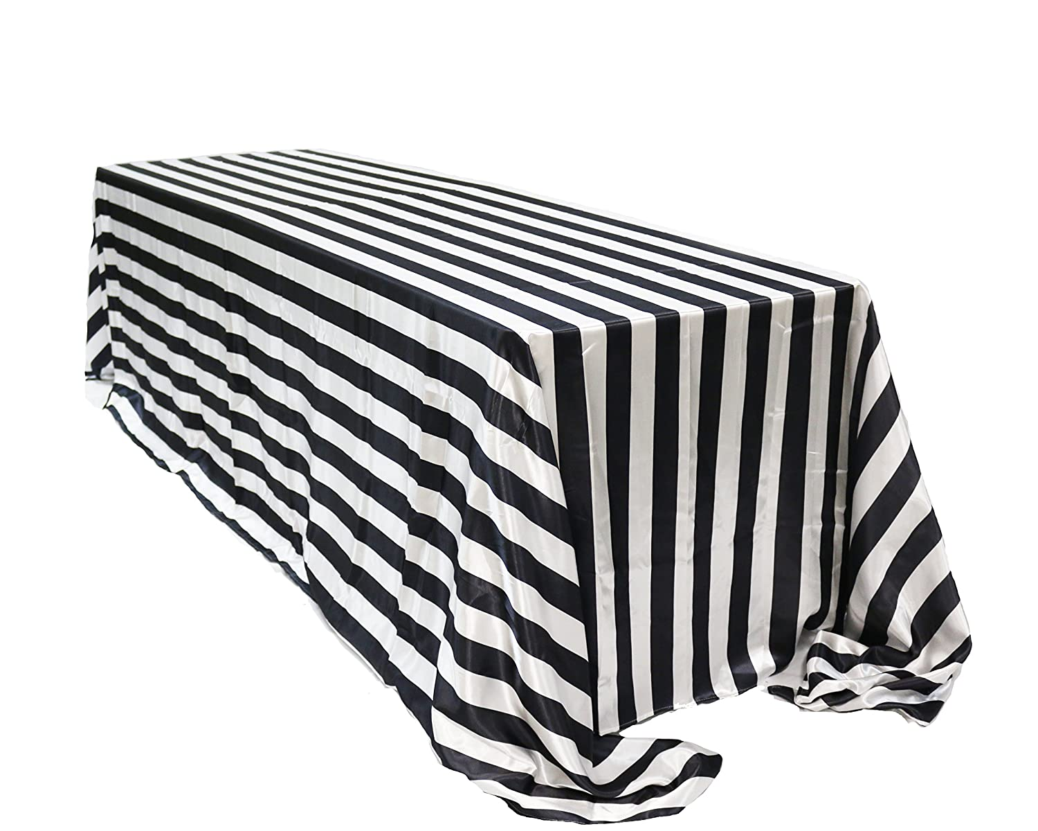 Enjoyable Your Chair Covers 90 X 132 Inch Rectangular Satin Tablecloth Black White Striped Rectangle Shiny Satin Table Linens For 6 Ft Rectangular Tables Beatyapartments Chair Design Images Beatyapartmentscom